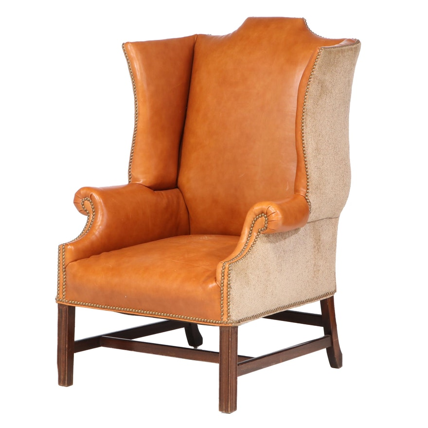 Chippendale Style Leather and Fabric Upholstered Wingback Armchair