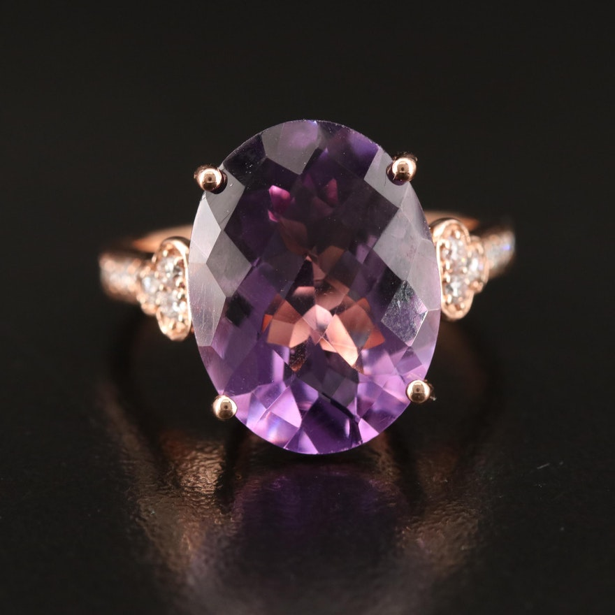 14K 8.28 CT Amethyst and Diamond Statement Ring