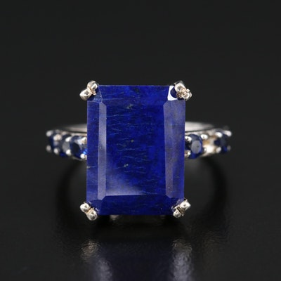 Sterling Silver Lapis Lazuli and Kyanite Statement Ring