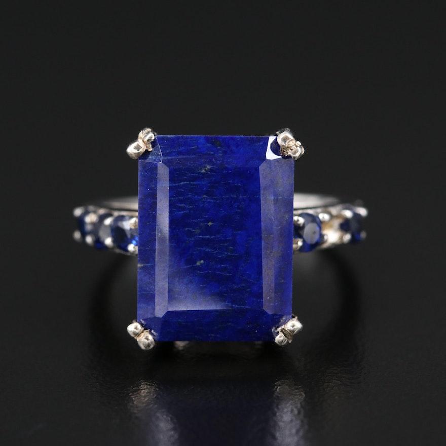 Sterling Silver Lapis Lazuli and Kyanite Statement Ring