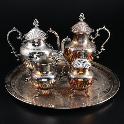 Birmingham Silver Co. Silver Plate Tea and Coffee Service, Mid to Late 20th C.