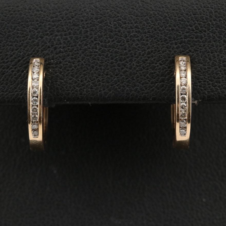 14K Diamond Channel Hoop Earrings