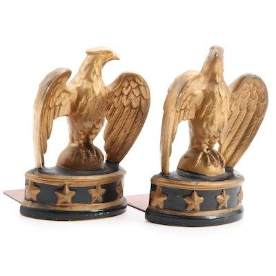 Federal Style Composite Gilt Eagle Bookends, Mid to Late 20th Century