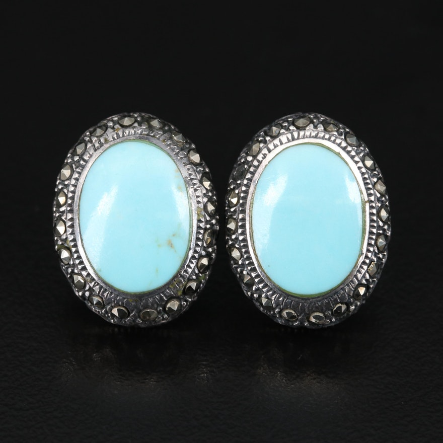 Sterling Turquoise and Marcasite Oval Earrings