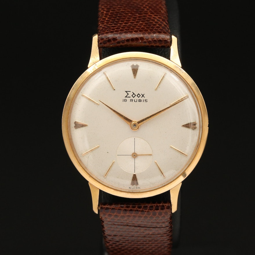 Vintage Edox 18K Yellow Gold Stem Wind Wristwatch
