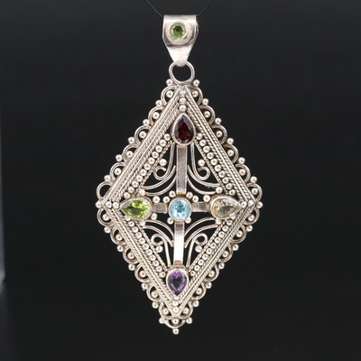Sterling Garnet, Apatite and Amethyst Geometric Pendant with Cross Motif