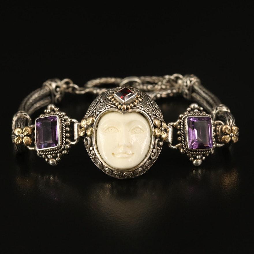 Robert Manse Amethyst, Garnet and Bone Moon Goddess Bracelet with 18K Accents