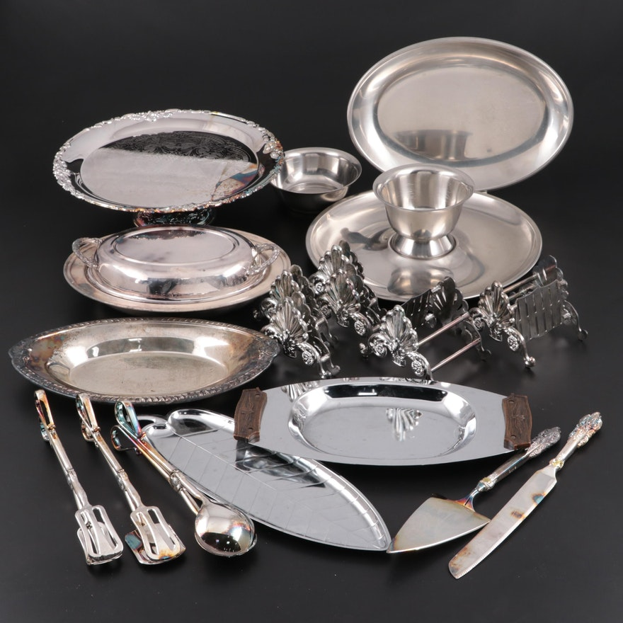 """Godinger """"Baroque"""" Silver Plate Cake Stand and Other Tableware"""