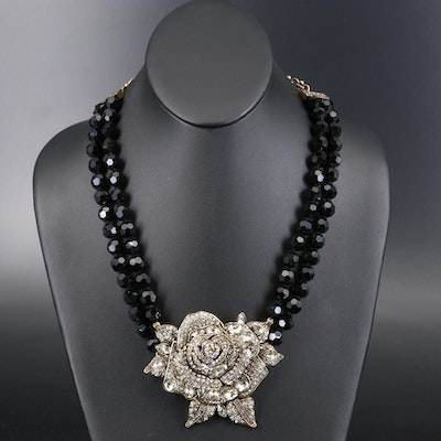 "Heidi Daus ""Enchanted Beauty"" Rhinestone and Glass Rose Necklace with Box"