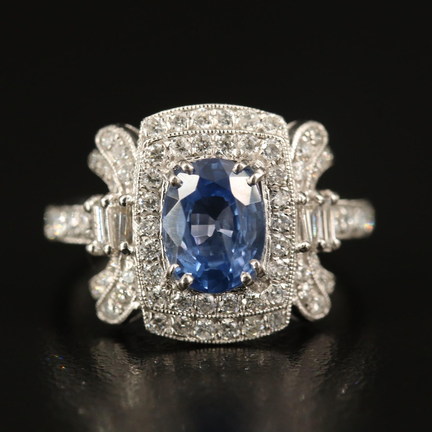 Platinum 1.96 CT Sapphire and Diamond Ring