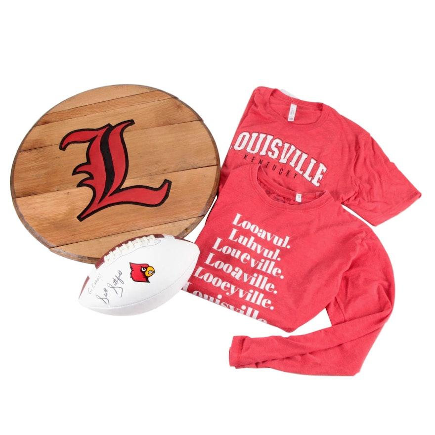 Scott Satterfield Signed Football, Cardinals Team Logo Barrel Head, and Shirts