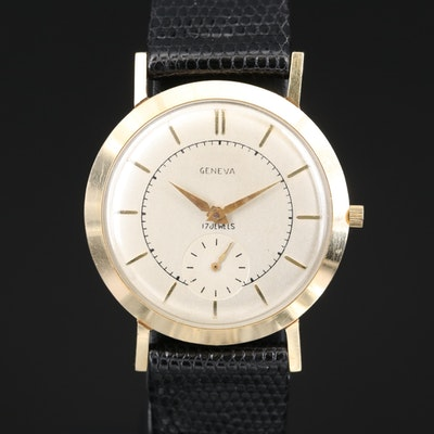 Vintage Geneva 14K Yellow Gold Stem Wind Wristwatch