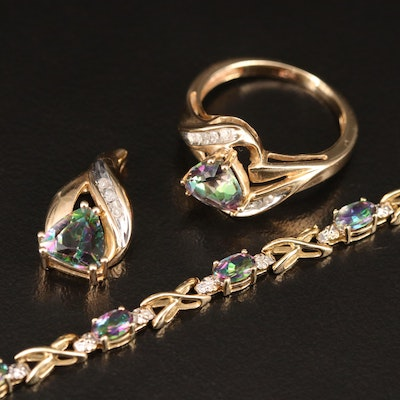 10K Mystic Topaz and Diamond Demi Parure