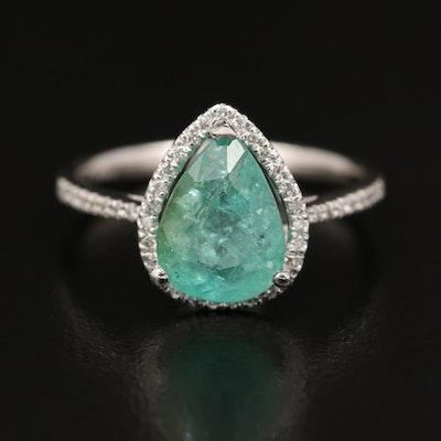 Platinum 2.27 CT Paraiba Tourmaline and Diamond Ring with GIA Report