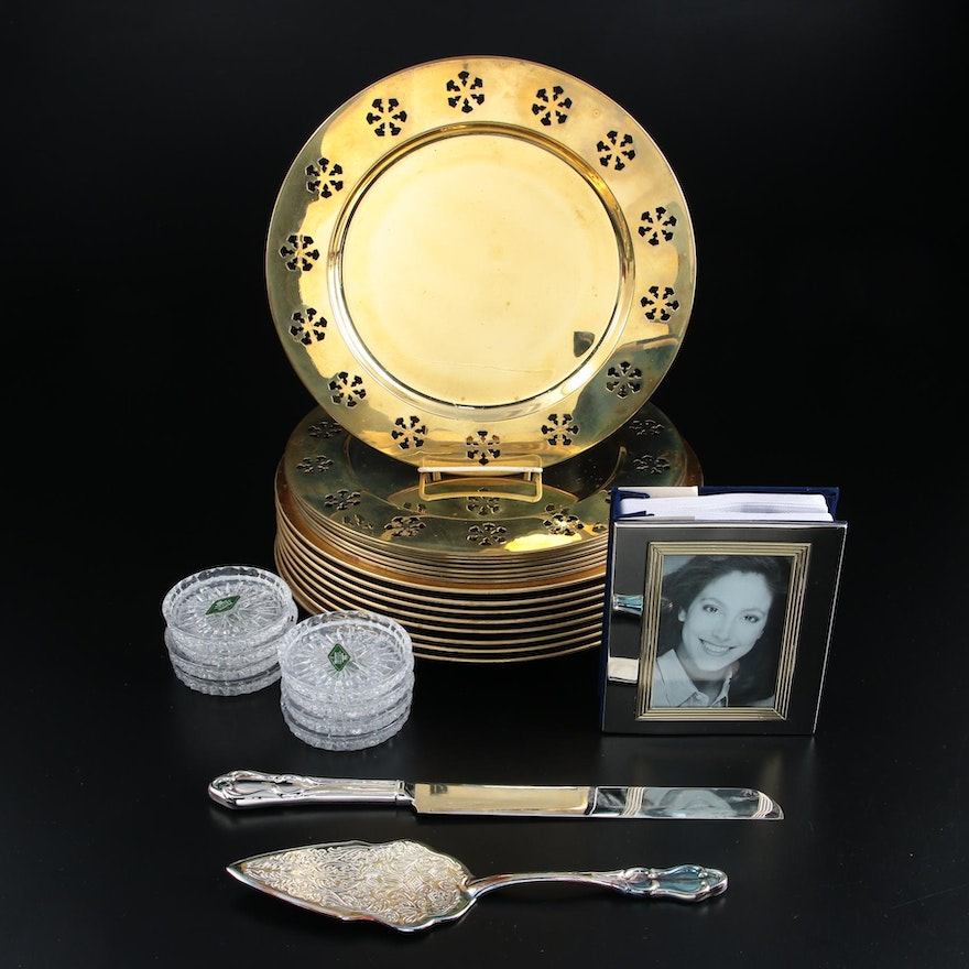 Godinger Silver Plate Cake Serving Set and Other Tableware, Late 20th Century