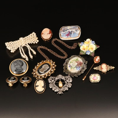 Vintage Brooch, Necklace, Earrings Including Enamel, Porcelain and Cameos