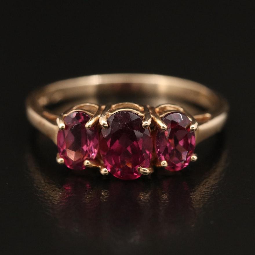 10K Rhodolite Garnet Three Stone Ring