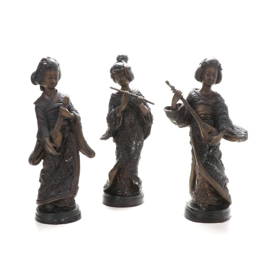 Japanese Bronze Figurines of Female Musicians