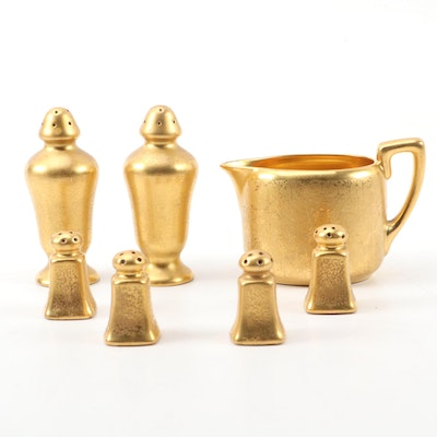 Pickard Gilt Encrusted Porcelain Creamer and Shakers, Early to Mid 20th Century