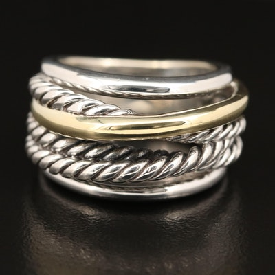 David Yurman Sterling Rope Crossover Ring with 14K Accent