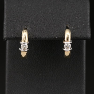 14K 0.18 CTW Diamond J Hoop Earrings
