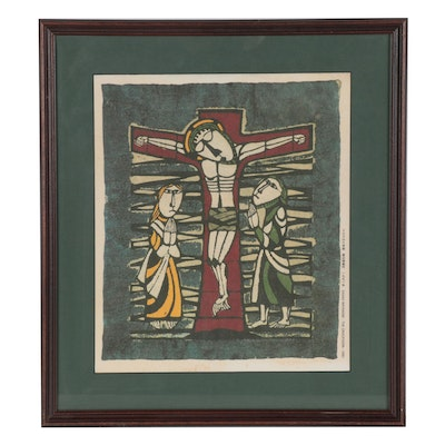 "Offset Lithograph after Sadao Watanabe ""The Crucifixion,"" Late 20th Century"