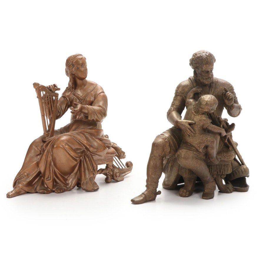 Cast Metal Figural Clock Topper Figurines, Late 19th to Early 20th Century
