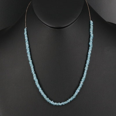 18K Blue Diamond Slice Beaded Necklace