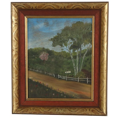 Landscape Oil Painting of Dirt Road, 1970