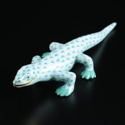 "Herend Green Fishnet with Gold ""Komodo Dragon"" Porcelain Figurine"