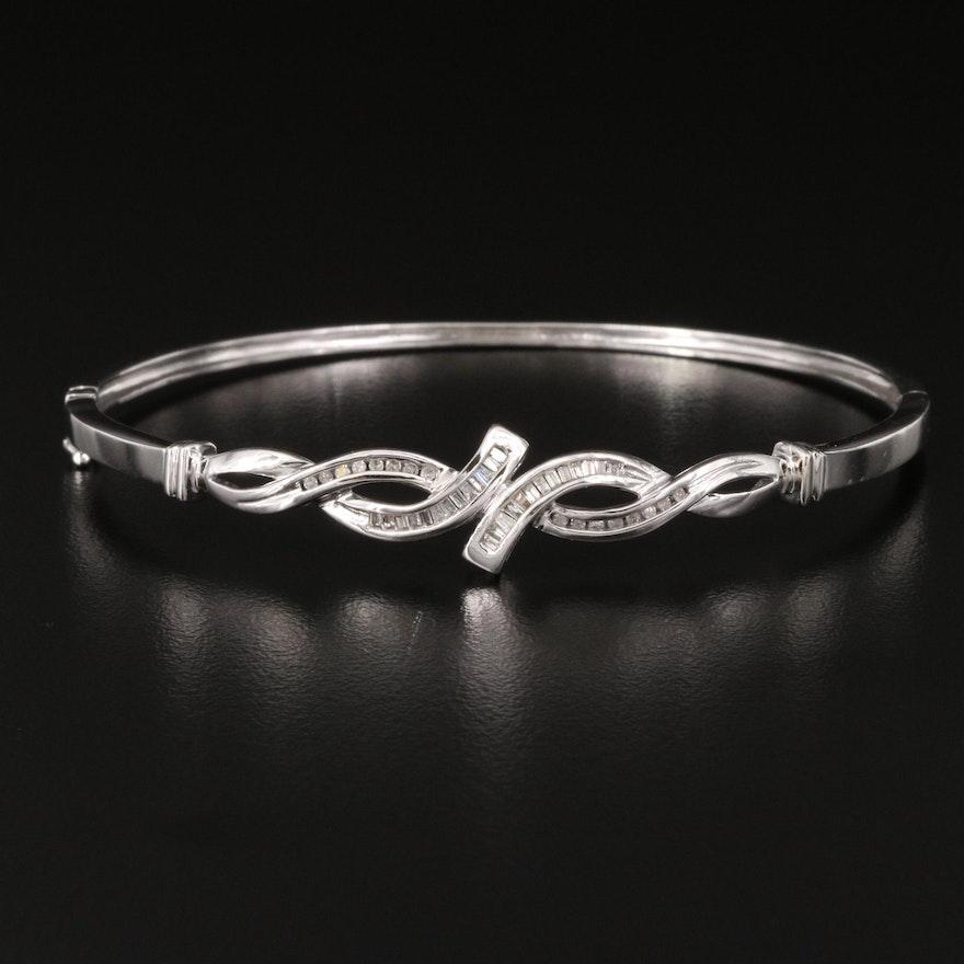 10K Diamond Twist Hinged Bangle
