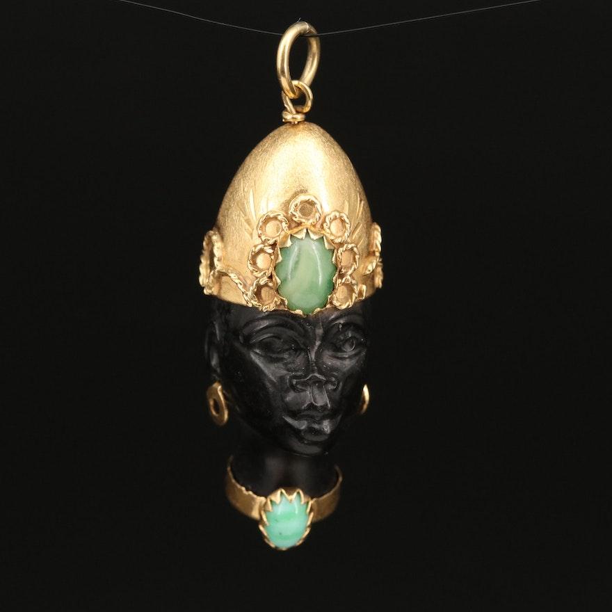 Vintage 18K Ebony and Jadeite Corletto Blackamoor Pendant