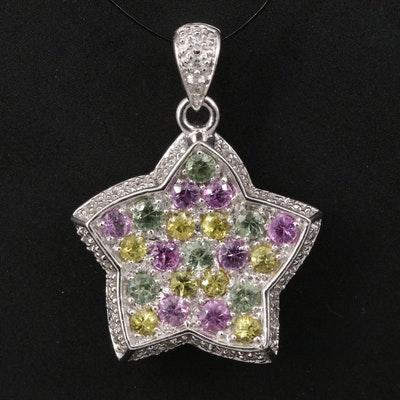 14K Multi-Color Sapphire and Diamond Star Pendant