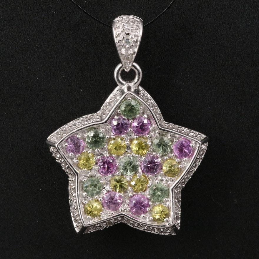 14K Multi-Color Sapphire and Diamond Star Pendant