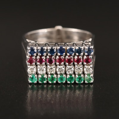 18K Diamond, Emerald, Ruby and Sapphire Harem Ring