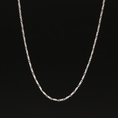 18K Textured Fancy Link Chain Necklace