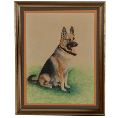 Watercolor Painting of German Shepherd, Mid-Late 20th Century