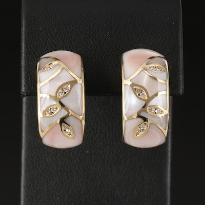 14K Inlaid Mother of Pearl and Diamond Earrings