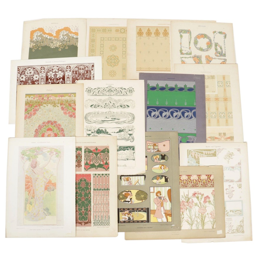 Offset Lithographs and Serigraphs of Art Nouveau Style Patterns and Figures
