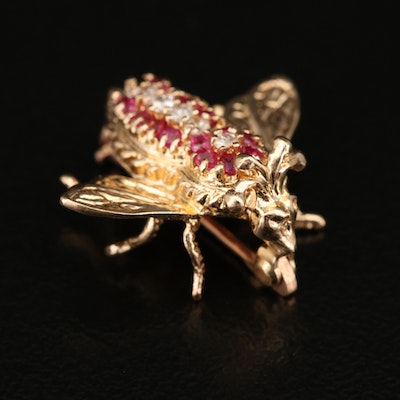 14K Diamond and Ruby Fly Brooch