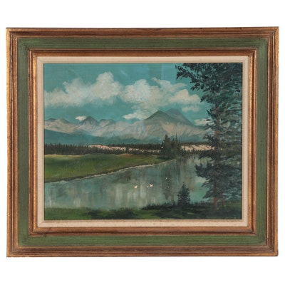 Sylvia Savage Oil Painting of Mountains and Lake, Mid to Late 20th Century