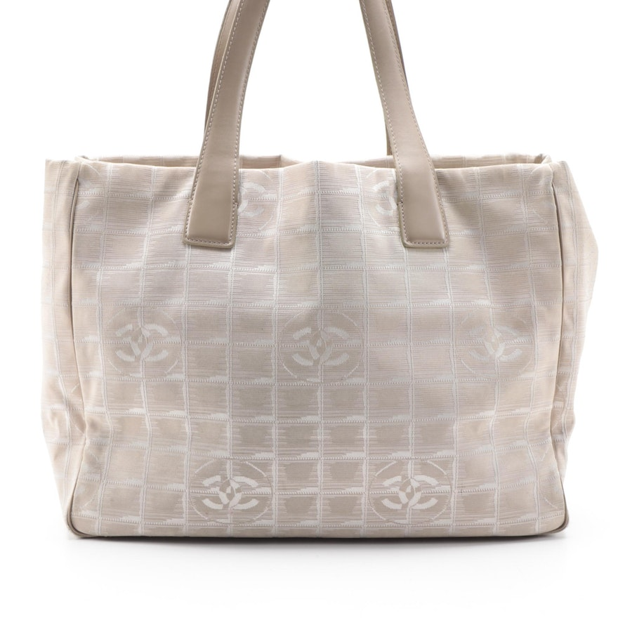 Chanel Travel Line Tote Bag in Taupe Jacquard and Leather Trim