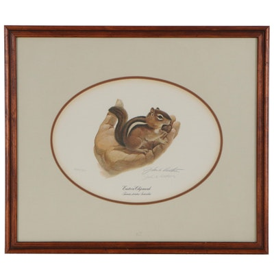 "John A. Ruthven Offset Lithograph ""Eastern Chipmunk,"" Late 20th Century"