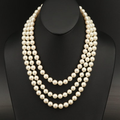"Franklin Mint ""Jackie's Pearls"" Triple Strand Replica Necklace"