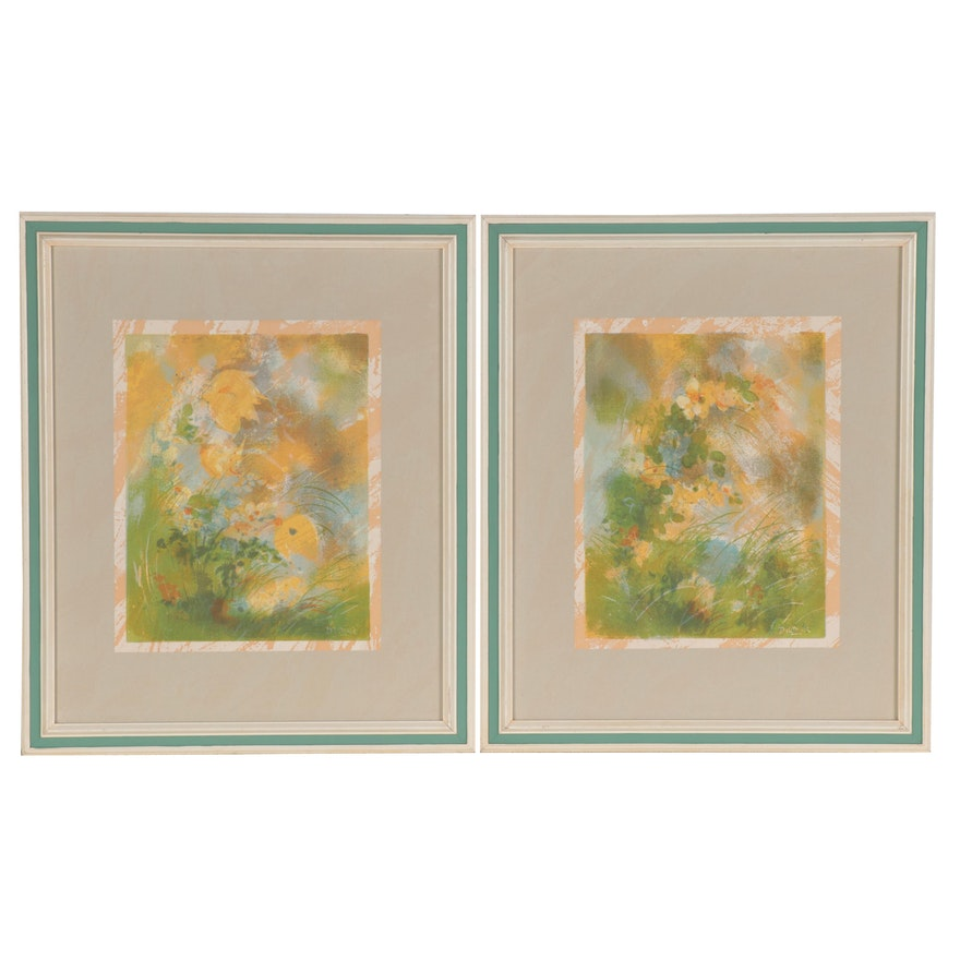 Abstract Serigraphs after Dietrich Hermann Grunewal of Flowers