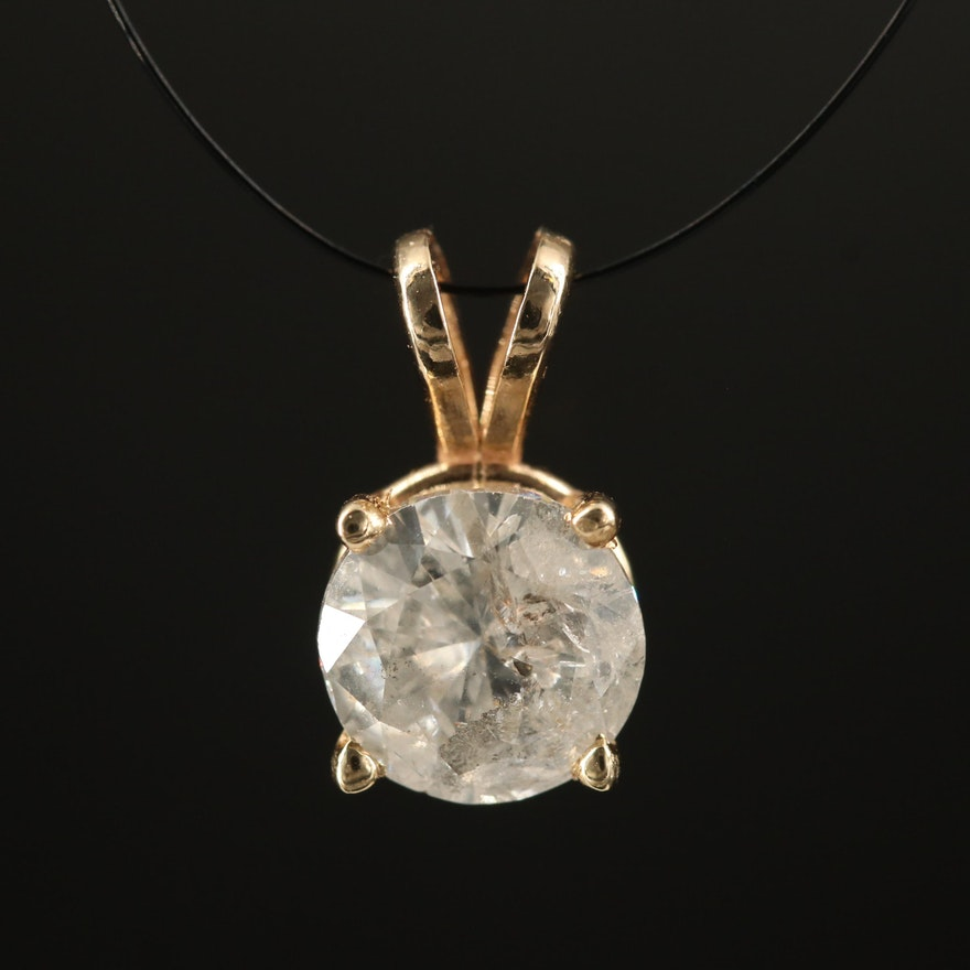 14K 1.33 CT Diamond Solitaire Pendant