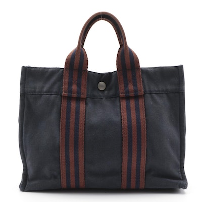 Hermès Fourre Tout PM Tote in Navy and Rust Cotton Canvas