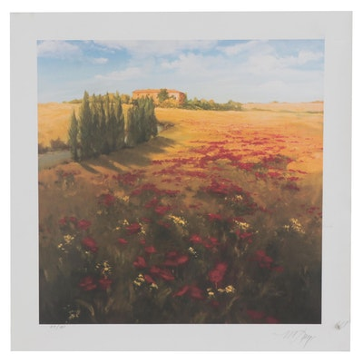 """Micheal Logan Offset Lithograph """"Field of Poppies,"""" Late 20th Century"""