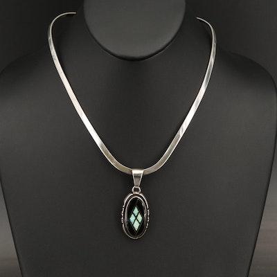 Pete Sanchez Isleta Pueblo Sterling Opal and Black Onyx Inlay Pendant