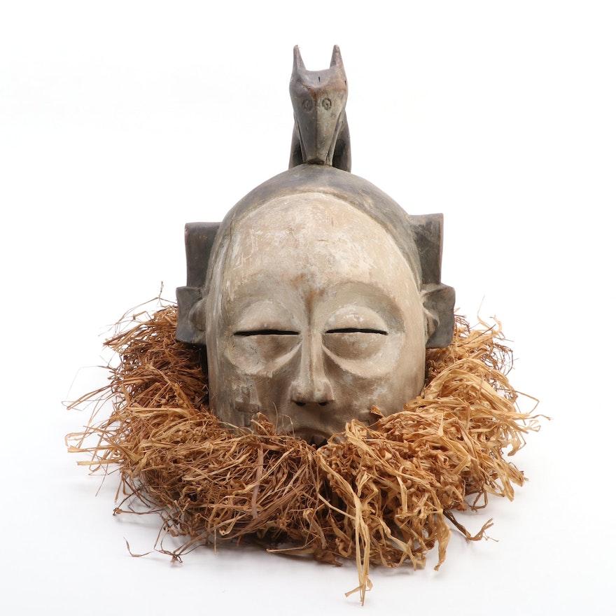 Suku Style Carved Wood Helmet Mask, Central Africa